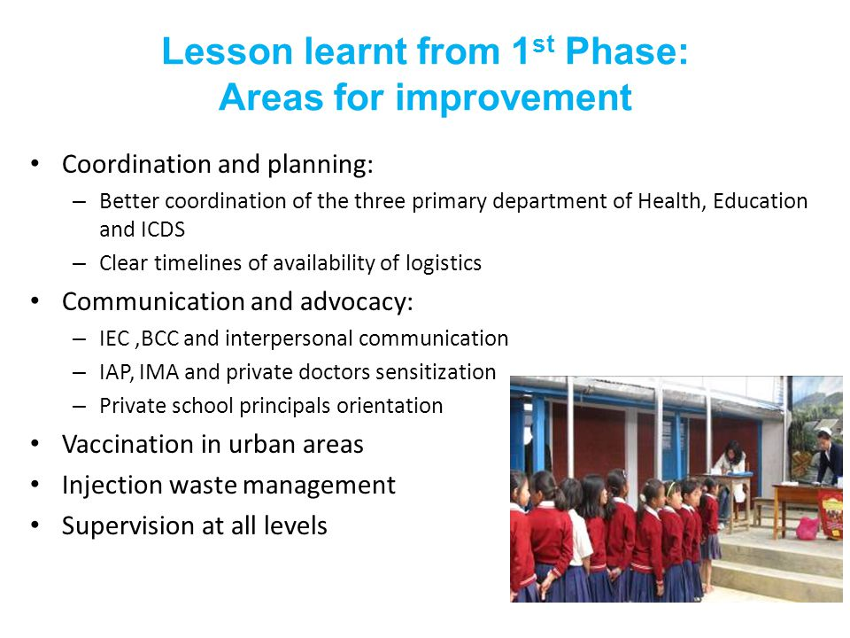 Lesson learnt from 1 st Phase: Areas for improvement Coordination and planning: – Better coordination of the three primary department of Health, Education and ICDS – Clear timelines of availability of logistics Communication and advocacy: – IEC,BCC and interpersonal communication – IAP, IMA and private doctors sensitization – Private school principals orientation Vaccination in urban areas Injection waste management Supervision at all levels