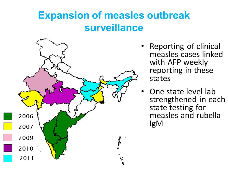 Expansion of measles outbreak surveillance Reporting of clinical measles cases linked with AFP weekly reporting in these states One state level lab strengthened in each state testing for measles and rubella IgM 2006 2007 2010 2009 2011