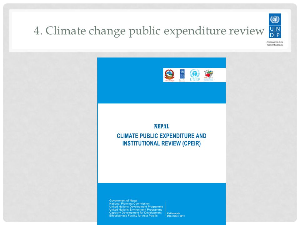 4. Climate change public expenditure review