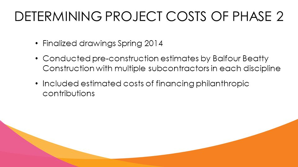 DETERMINING PROJECT COSTS OF PHASE 2 Finalized drawings Spring 2014 Conducted pre-construction estimates by Balfour Beatty Construction with multiple subcontractors in each discipline Included estimated costs of financing philanthropic contributions