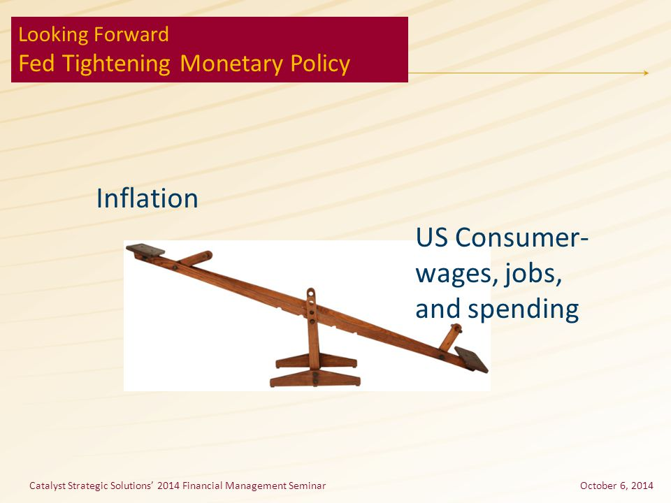 Catalyst Strategic Solutions' 2014 Financial Management SeminarOctober 6, 2014 Looking Forward Fed Tightening Monetary Policy US Consumer- wages, jobs, and spending Inflation