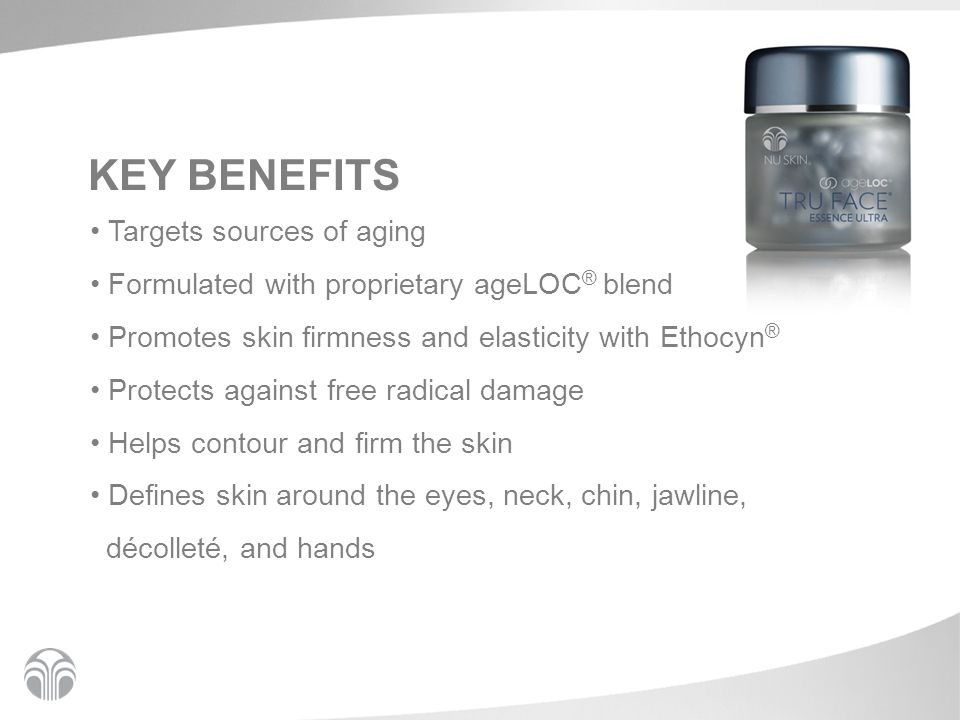 KEY BENEFITS Targets sources of aging Formulated with proprietary ageLOC ® blend Promotes skin firmness and elasticity with Ethocyn ® Protects against free radical damage Helps contour and firm the skin Defines skin around the eyes, neck, chin, jawline, décolleté, and hands