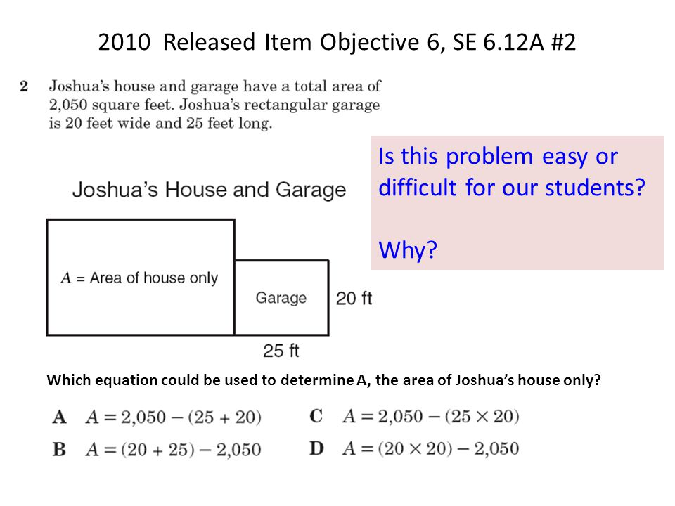 2010 Released Item Objective 6, SE 6.12A #2 Which equation could be used to determine A, the area of Joshua's house only.