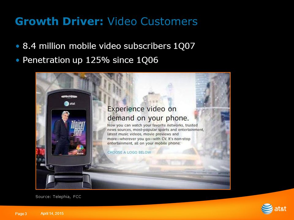 April 14, 2015 Page 3 Growth Driver: Video Customers 8.4 million mobile video subscribers 1Q07 Penetration up 125% since 1Q06 Source: Telephia, FCC