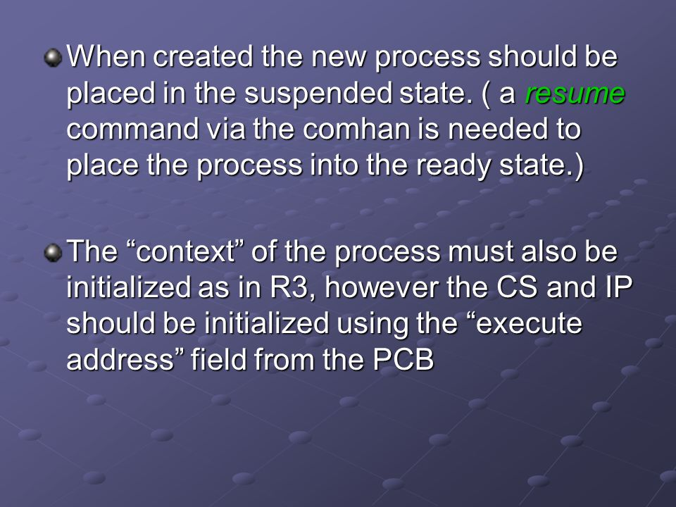When created the new process should be placed in the suspended state.