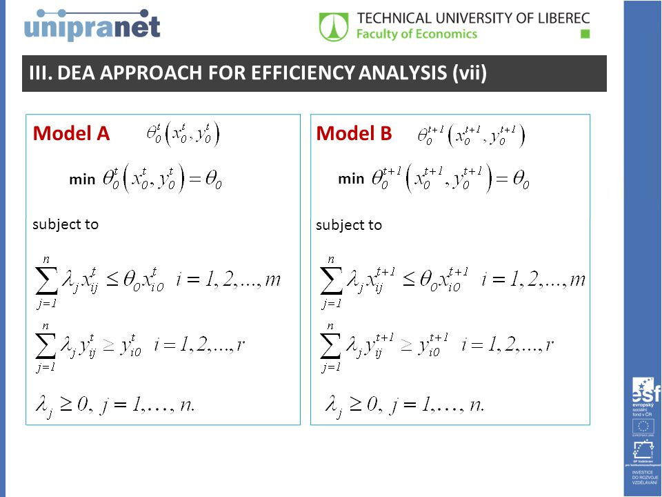 III. DEA APPROACH FOR EFFICIENCY ANALYSIS (vii) Model AModel B min subject to min subject to
