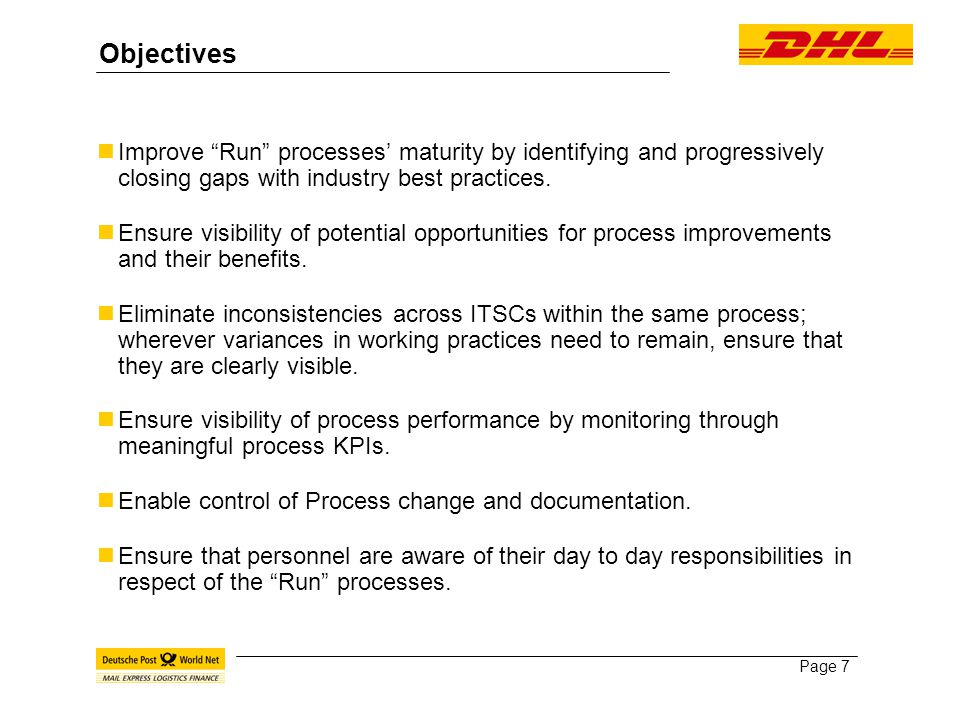 Page 7 Objectives Improve Run processes' maturity by identifying and progressively closing gaps with industry best practices.