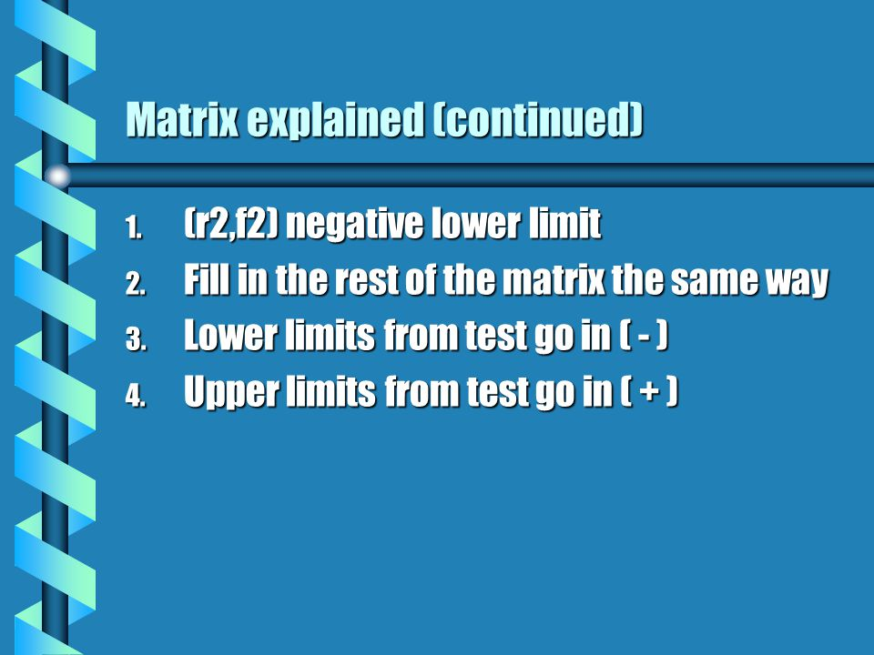 Matrix explained (continued) 1. (r2,f2) negative lower limit 2.