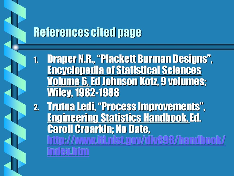 References cited page