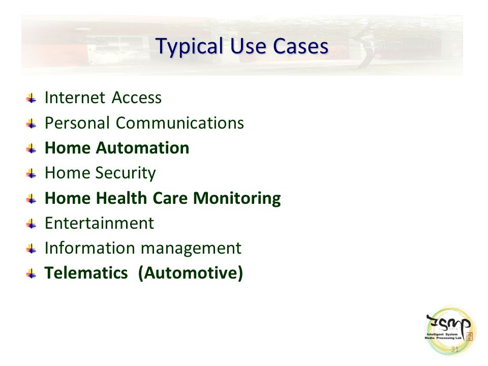 31 Typical Use Cases Internet Access Personal Communications Home Automation Home Security Home Health Care Monitoring Entertainment Information management Telematics (Automotive)
