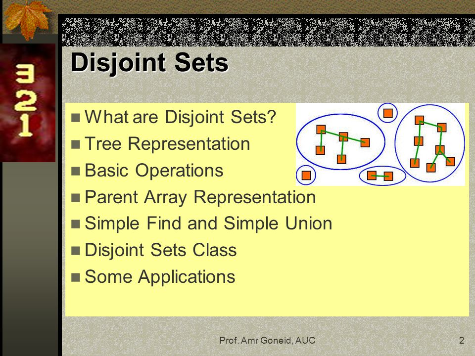 Prof. Amr Goneid, AUC2 Disjoint Sets What are Disjoint Sets.