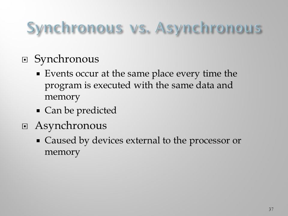  Synchronous  Events occur at the same place every time the program is executed with the same data and memory  Can be predicted  Asynchronous  Caused by devices external to the processor or memory 37