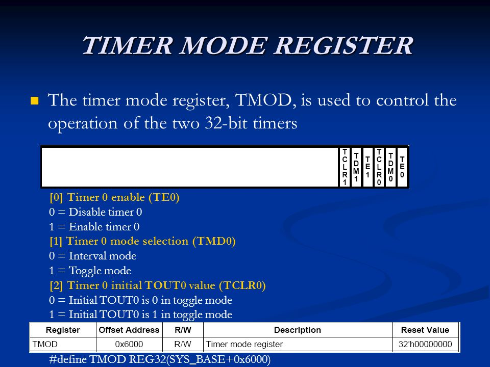 TIMER MODE REGISTER The timer mode register, TMOD, is used to control the operation of the two 32-bit timers [0] Timer 0 enable (TE0) 0 = Disable timer 0 1 = Enable timer 0 [1] Timer 0 mode selection (TMD0) 0 = Interval mode 1 = Toggle mode [2] Timer 0 initial TOUT0 value (TCLR0) 0 = Initial TOUT0 is 0 in toggle mode 1 = Initial TOUT0 is 1 in toggle mode #define TMOD REG32(SYS_BASE+0x6000)