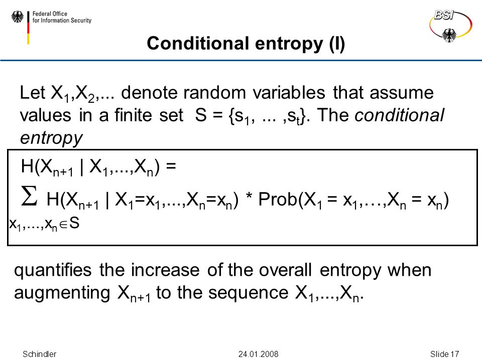 Schindler24.01.2008Slide 17 Conditional entropy (I) Let X 1,X 2,...