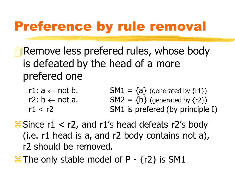 Preference by rule removal zSince r1 < r2, and r1's head defeats r2's body (i.e.