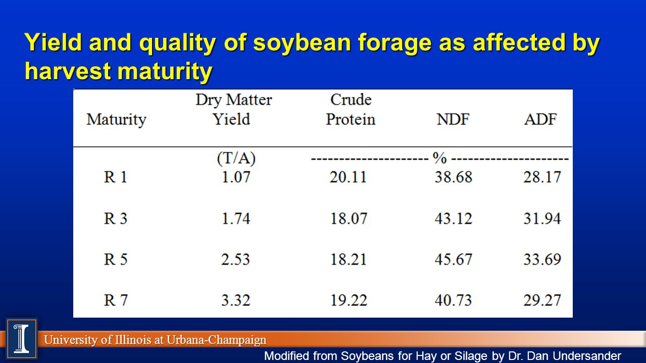 University of Illinois at Urbana-Champaign Yield and quality of soybean forage as affected by harvest maturity Modified from Soybeans for Hay or Silage by Dr.