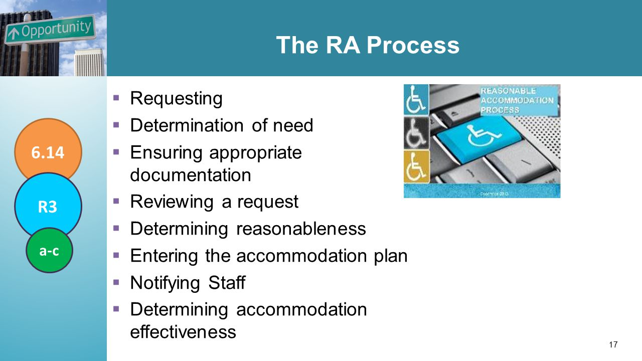 The RA Process  Requesting  Determination of need  Ensuring appropriate documentation  Reviewing a request  Determining reasonableness  Entering the accommodation plan  Notifying Staff  Determining accommodation effectiveness 6.14 R3 a-c 17