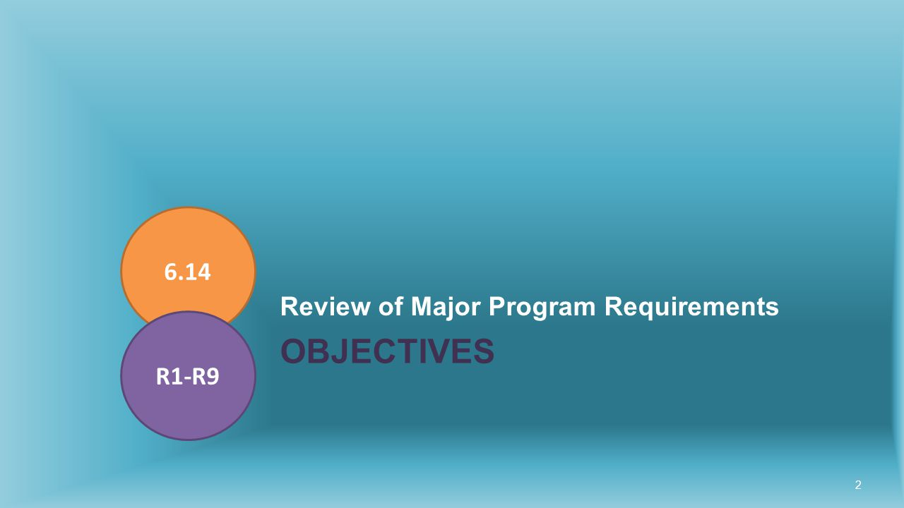 OBJECTIVES Review of Major Program Requirements 6.14 R1-R9 2