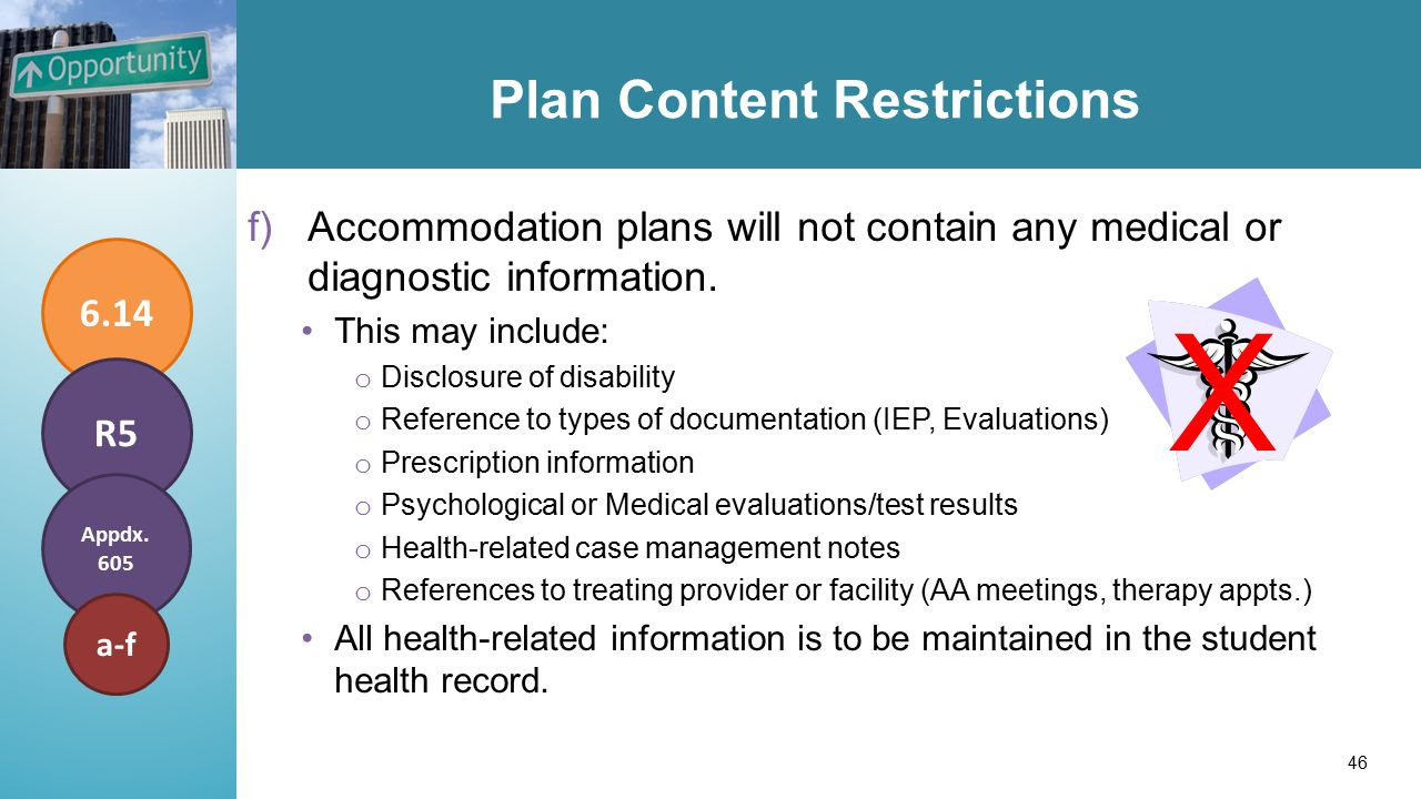 Plan Content Restrictions f)Accommodation plans will not contain any medical or diagnostic information.