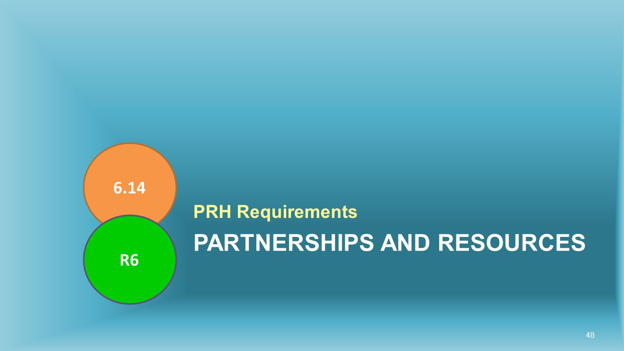 PARTNERSHIPS AND RESOURCES PRH Requirements 6.14 R6 48