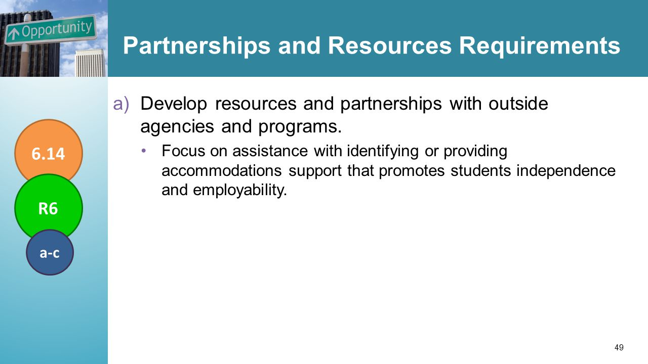 Partnerships and Resources Requirements a)Develop resources and partnerships with outside agencies and programs.