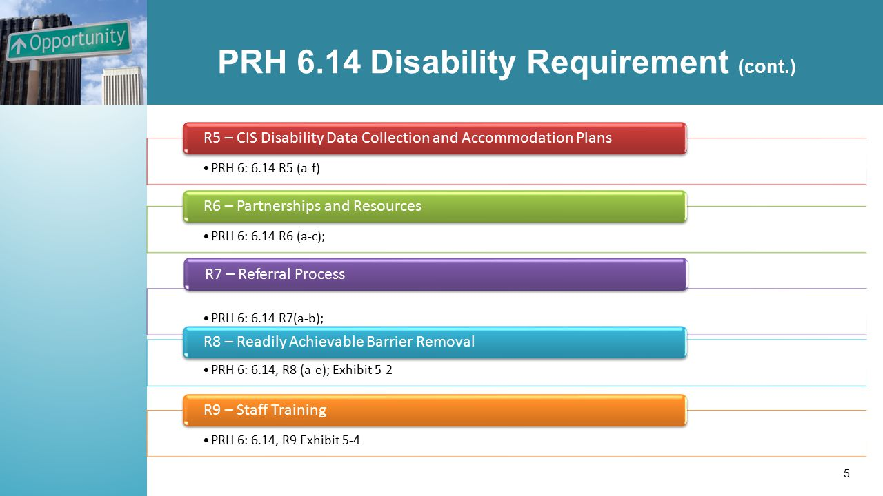 PRH 6.14 Disability Requirement (cont.) PRH 6: 6.14 R5 (a-f) R5 – CIS Disability Data Collection and Accommodation Plans PRH 6: 6.14 R6 (a-c); R6 – Partnerships and Resources PRH 6: 6.14 R7(a-b); R7 – Referral Process PRH 6: 6.14, R8 (a-e); Exhibit 5-2 R8 – Readily Achievable Barrier Removal PRH 6: 6.14, R9 Exhibit 5-4 R9 – Staff Training 5