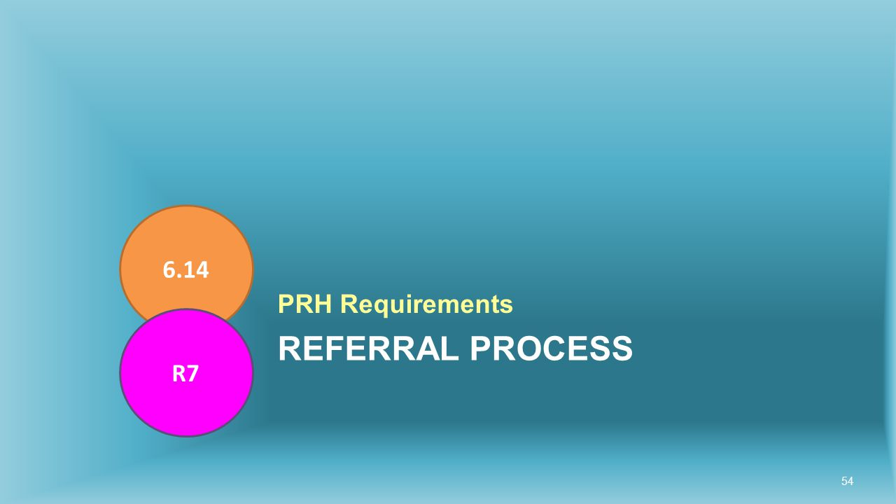 REFERRAL PROCESS PRH Requirements 6.14 R7 54
