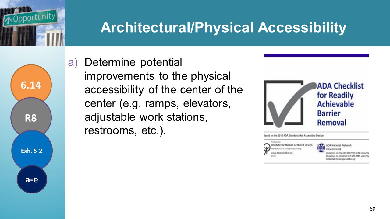 Architectural/Physical Accessibility a)Determine potential improvements to the physical accessibility of the center of the center (e.g.