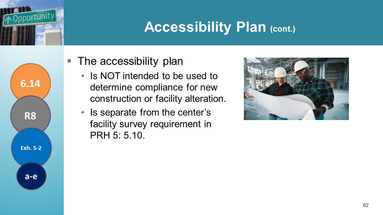 Accessibility Plan (cont.)  The accessibility plan Is NOT intended to be used to determine compliance for new construction or facility alteration.