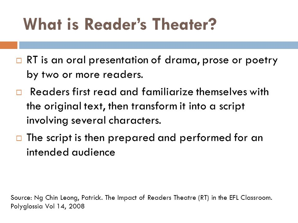 What is Reader's Theater.
