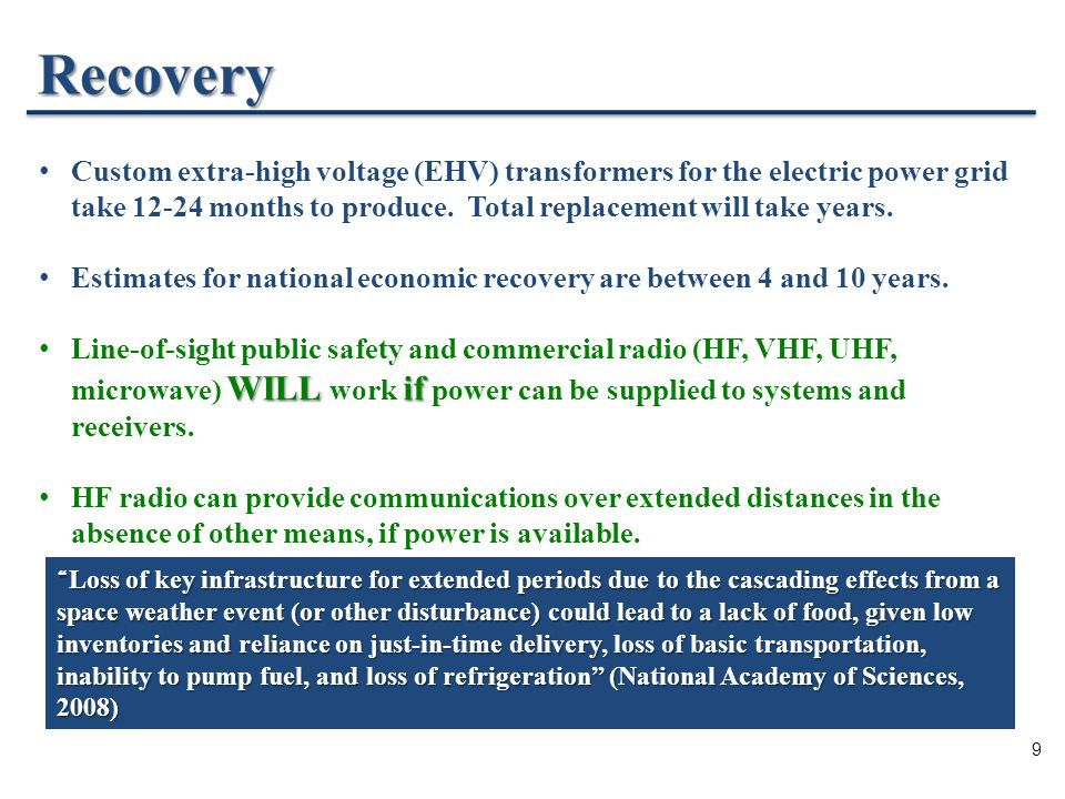 9 Recovery Custom extra-high voltage (EHV) transformers for the electric power grid take 12-24 months to produce.