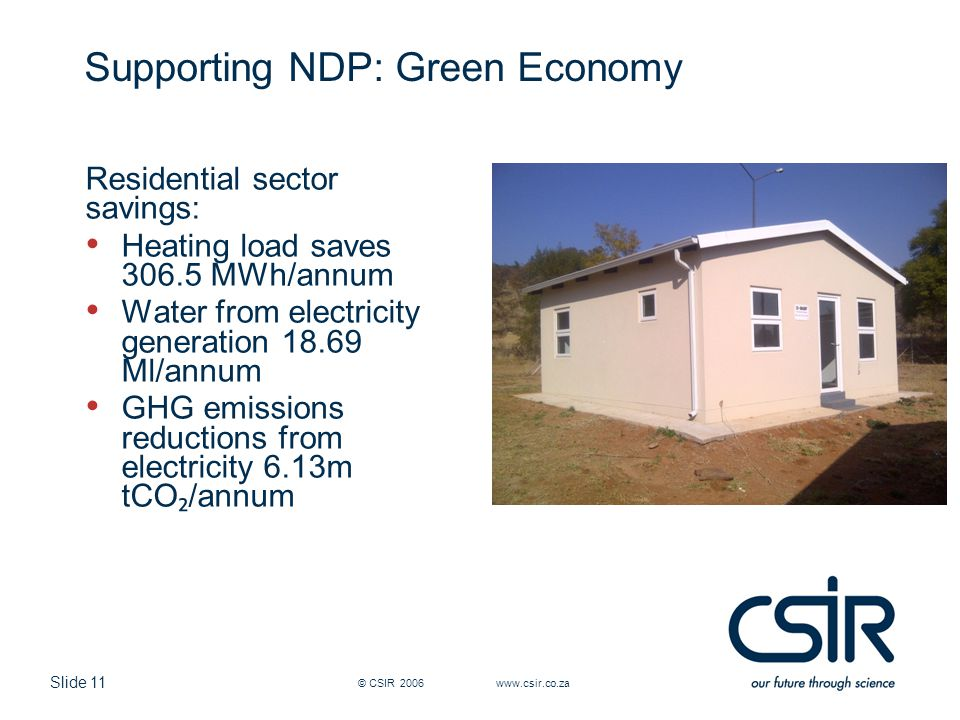 Slide 11 Supporting NDP: Green Economy Residential sector savings: Heating load saves 306.5 MWh/annum Water from electricity generation 18.69 Ml/annum GHG emissions reductions from electricity 6.13m tCO ₂ /annum © CSIR 2006 www.csir.co.za