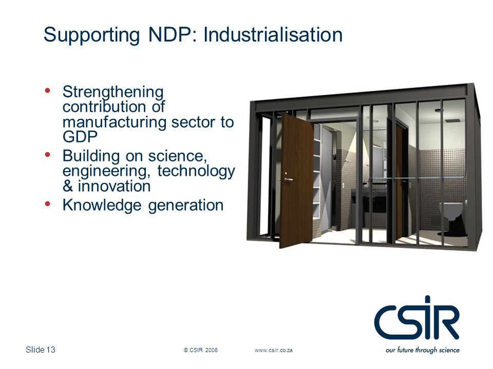 Slide 13 Supporting NDP: Industrialisation Strengthening contribution of manufacturing sector to GDP Building on science, engineering, technology & innovation Knowledge generation © CSIR 2006 www.csir.co.za
