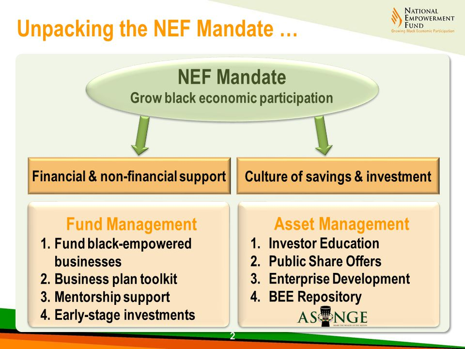 2 NEF Mandate Grow black economic participation Fund Management 1.Fund black-empowered businesses 2.Business plan toolkit 3.Mentorship support 4.Early-stage investments Fund Management 1.Fund black-empowered businesses 2.Business plan toolkit 3.Mentorship support 4.Early-stage investments Asset Management 1.Investor Education 2.Public Share Offers 3.Enterprise Development 4.BEE Repository Asset Management 1.Investor Education 2.Public Share Offers 3.Enterprise Development 4.BEE Repository Unpacking the NEF Mandate … 2 Culture of savings & investment Financial & non-financial support