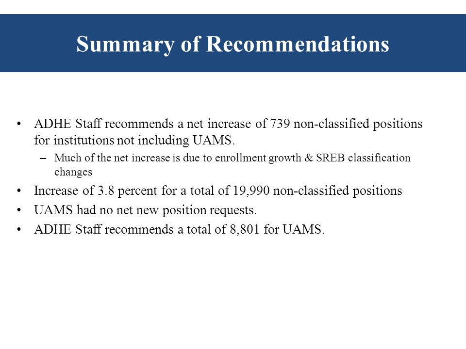 Summary of Recommendations ADHE Staff recommends a net increase of 739 non-classified positions for institutions not including UAMS.