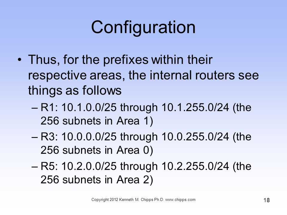 Configuration Thus, for the prefixes within their respective areas, the internal routers see things as follows –R1: 10.1.0.0/25 through 10.1.255.0/24 (the 256 subnets in Area 1) –R3: 10.0.0.0/25 through 10.0.255.0/24 (the 256 subnets in Area 0) –R5: 10.2.0.0/25 through 10.2.255.0/24 (the 256 subnets in Area 2) Copyright 2012 Kenneth M.