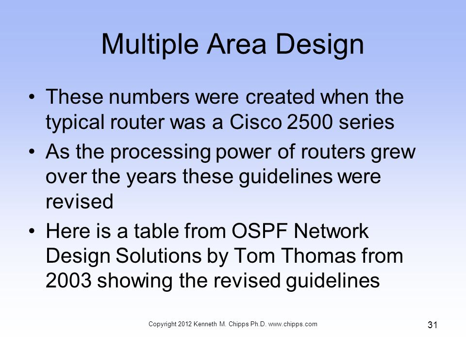 Multiple Area Design These numbers were created when the typical router was a Cisco 2500 series As the processing power of routers grew over the years these guidelines were revised Here is a table from OSPF Network Design Solutions by Tom Thomas from 2003 showing the revised guidelines Copyright 2012 Kenneth M.