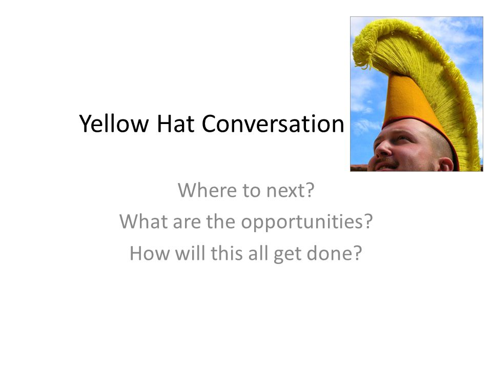 Yellow Hat Conversation Where to next What are the opportunities How will this all get done