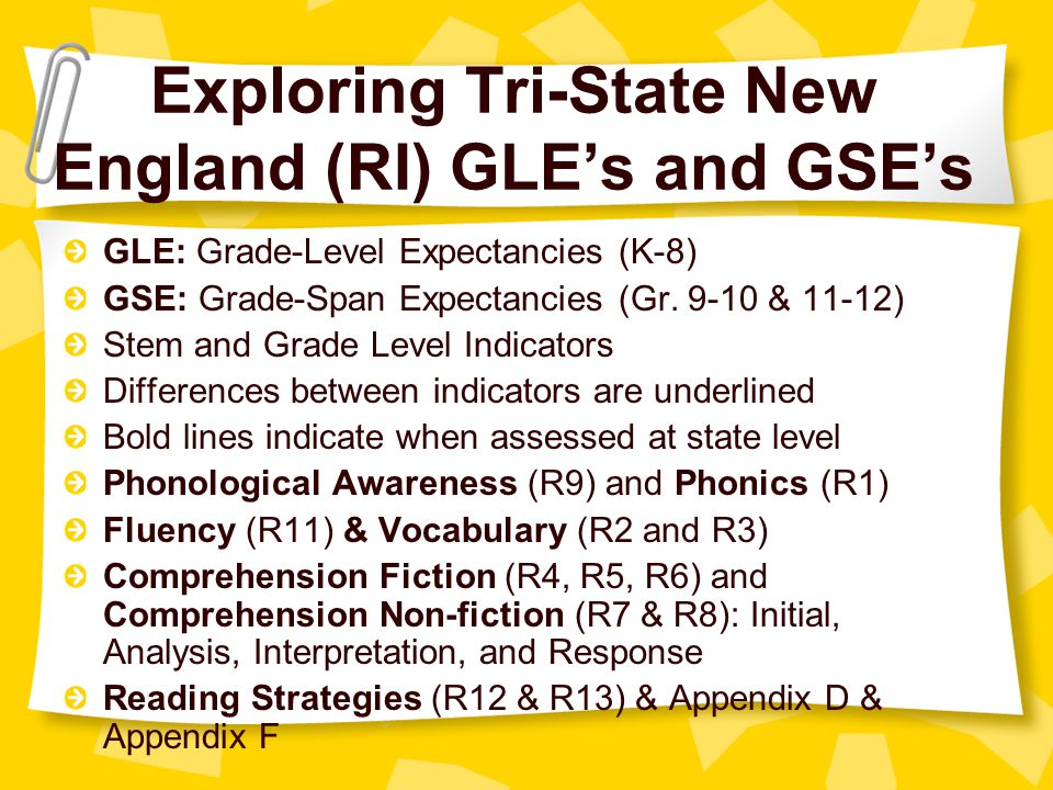 Exploring Tri-State New England (RI) GLE's and GSE's GLE: Grade-Level Expectancies (K-8) GSE: Grade-Span Expectancies (Gr.