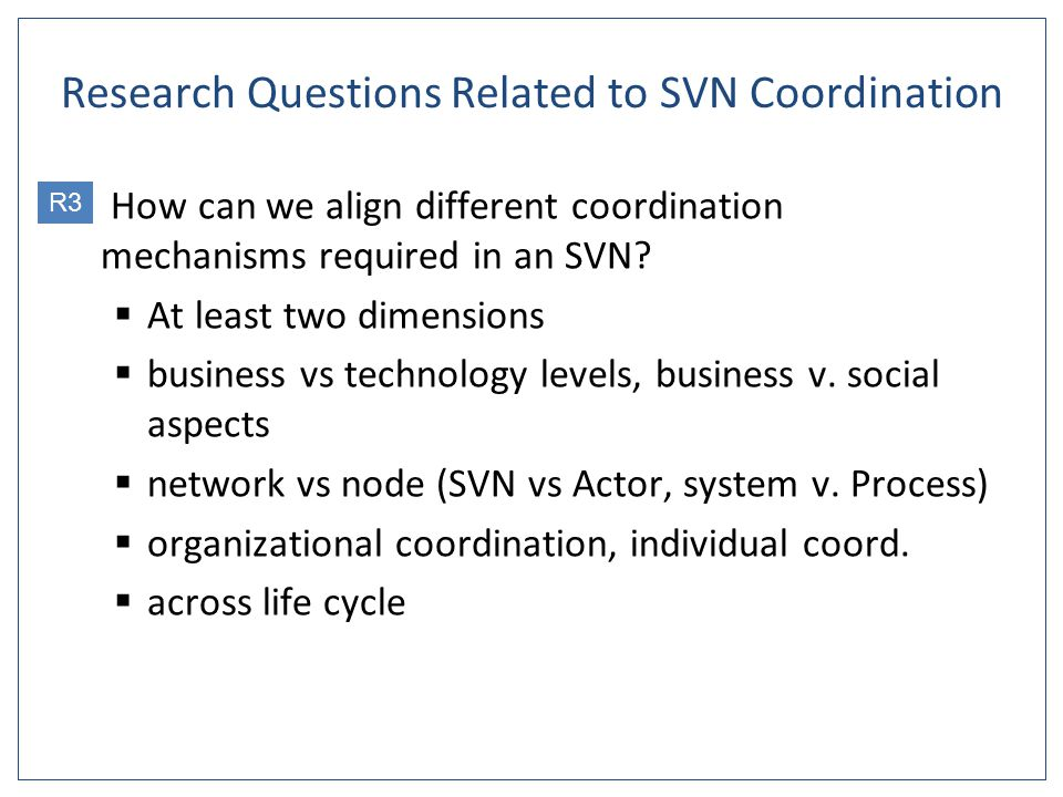 Research Questions Related to SVN Coordination 1.