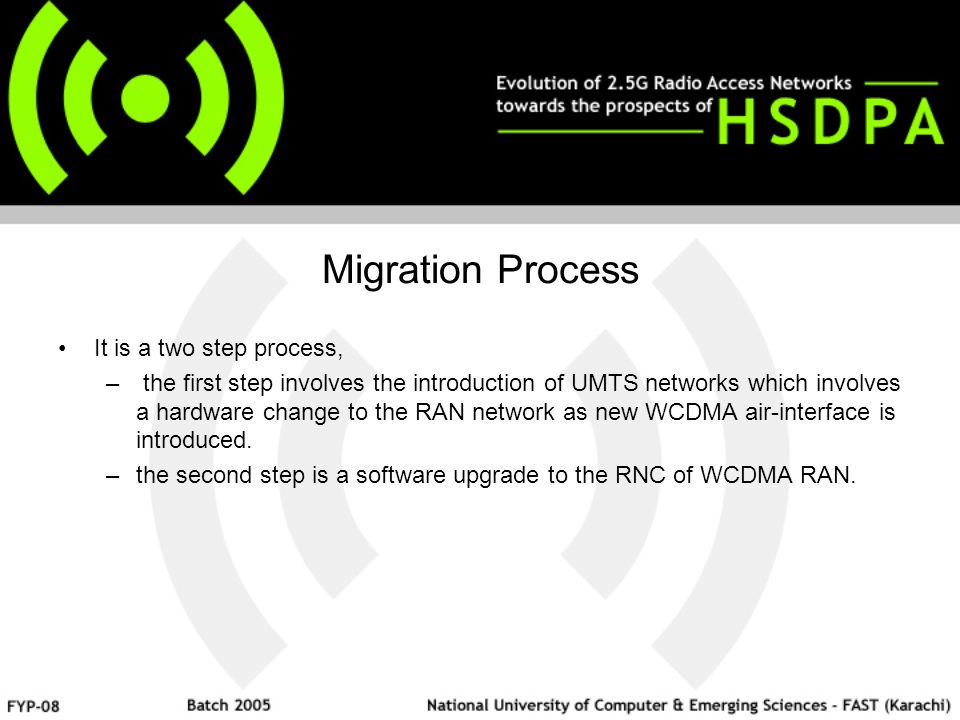 Migration Process It is a two step process, – the first step involves the introduction of UMTS networks which involves a hardware change to the RAN network as new WCDMA air-interface is introduced.