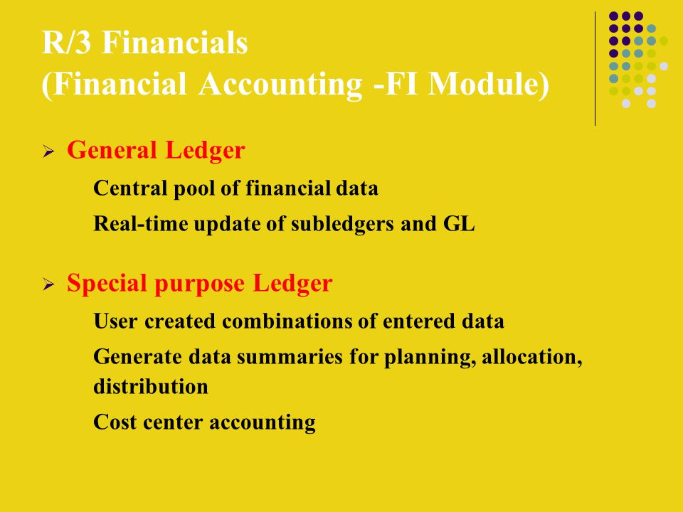 R/3 Financials (Financial Accounting -FI Module)  General Ledger Central pool of financial data Real-time update of subledgers and GL  Special purpose Ledger User created combinations of entered data Generate data summaries for planning, allocation, distribution Cost center accounting