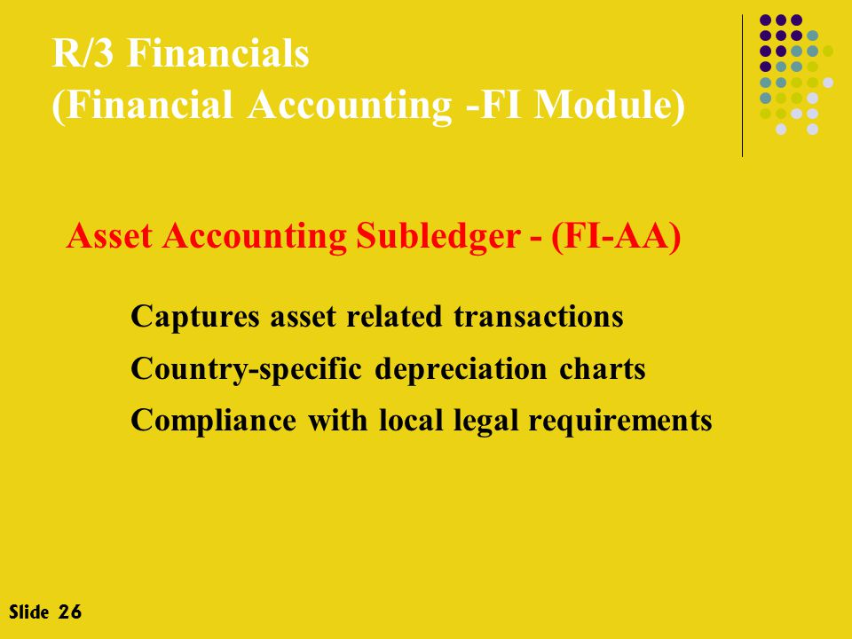 R/3 Financials (Financial Accounting -FI Module) Asset Accounting Subledger - (FI-AA) Captures asset related transactions Country-specific depreciation charts Compliance with local legal requirements Slide 26