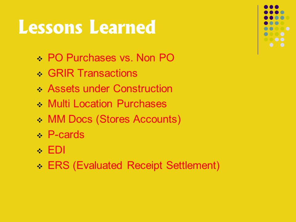 Lessons Learned  PO Purchases vs.