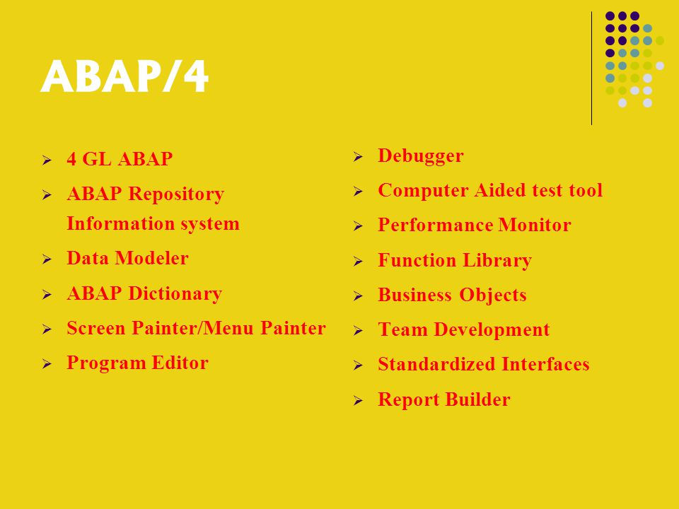 ABAP/4  4 GL ABAP  ABAP Repository Information system  Data Modeler  ABAP Dictionary  Screen Painter/Menu Painter  Program Editor  Debugger  Computer Aided test tool  Performance Monitor  Function Library  Business Objects  Team Development  Standardized Interfaces  Report Builder