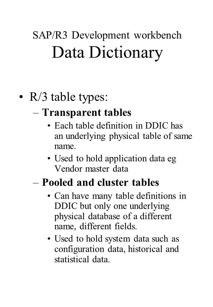 SAP/R3 Development workbench Data Dictionary R/3 table types
