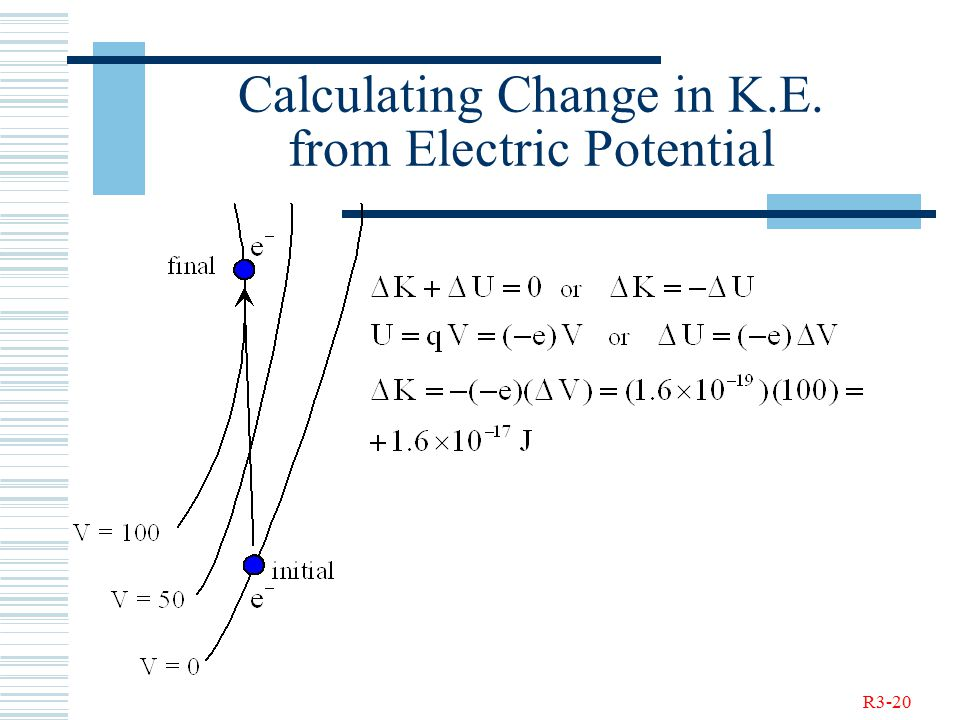 R3-20 Calculating Change in K.E. from Electric Potential