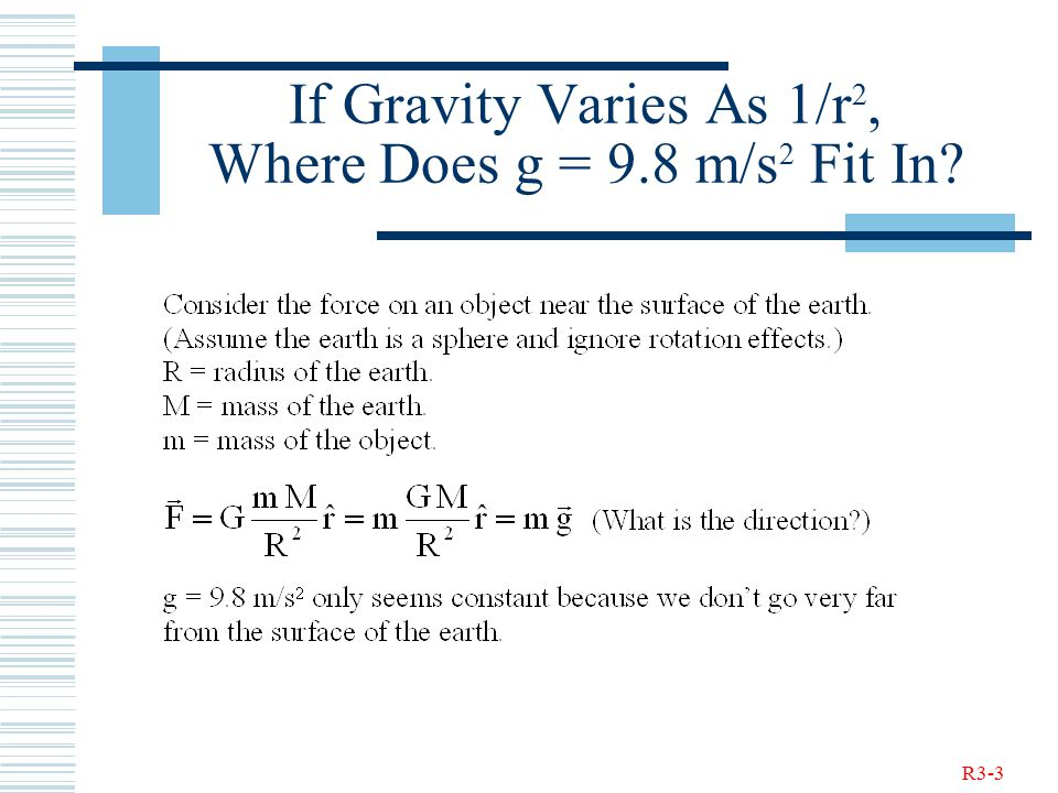 R3-3 If Gravity Varies As 1/r 2, Where Does g = 9.8 m/s 2 Fit In