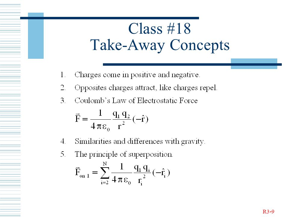 R3-9 Class #18 Take-Away Concepts