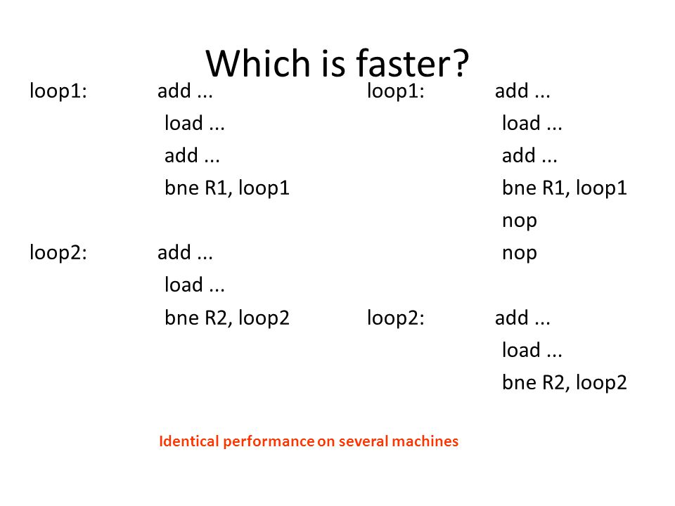 Which is faster. loop1: add... load... add... bne R1, loop1 loop2: add...